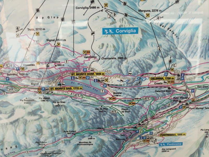 Mapa geral das pistas de St. Moritz
